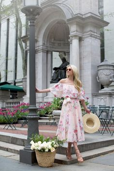 blooms in bryant park (BP. straw boater hat + ASOS floral 'bardot' off-the-shoulder midi ruffled dress + Jimmy Choo 'vernie' lace-up sandals) Pink Outfits, Mode Outfits, Dress Outfits, Summer Outfits, Pink Dresses, Fashion Sites, Fast Fashion, Fashion Bloggers, Moda Floral