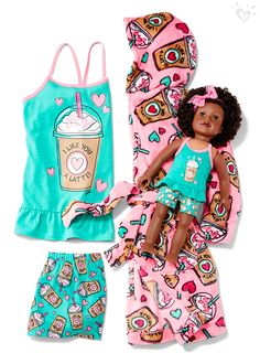 """She'll thank you a """"latte"""" for the fun pjs and cool matching robe!"""