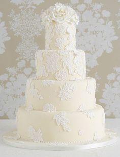 ivory and white wedding cake