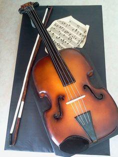 Violin cake on pinterest violin cake decorating for Violin decorating ideas