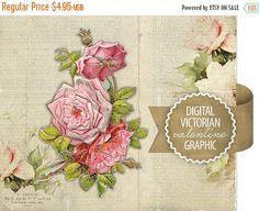80% OFF SALE Digital Valentine Flowers Diecut - Antique Vintage Valentine Diecut Graphic - Victorian Flowers - Printable - INSTANT Download