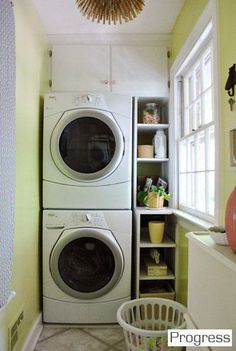 small laundry room with stacked washer and dryer, Young House Love Small Laundry Space, Tiny Laundry Rooms, Laundry Room Organization, Laundry Room Design, Laundry In Bathroom, Small Spaces, Laundry Area, Laundry Shelves, Laundry Storage