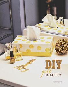 DIY Gold Tissue Box at TidyMom.net This post gives me an idea about taking a shoe box that I could re-use as a tissue box holder. That way I wouldn't have to re-paint a box every time I ran out of tissues!