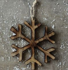 Large Wood Snowflake Ornaments, Set of 3