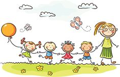 Happy kids and their teacher on a walk in the kindergarten. Education clipart, teaching clipart, Children clipart, kindergarten cli part Cartoon Images, Cartoon Kids, Drawing For Kids, Art For Kids, Preschool Transitions, Education Clipart, Stick Figures, Free Illustrations, Cute Illustration
