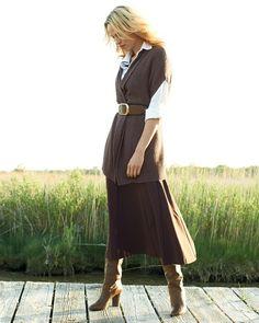 soft shawl collar vest & boot skirt l #ColdwaterCreek