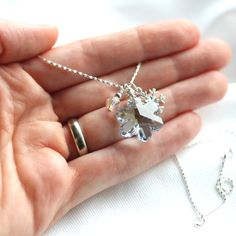 Ice Blue Snowflake Necklace Swarovski Crystal by GreenRibbonGems