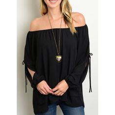 "Bare Shoulder Top Beautiful black bare shoulder top with open billowy sleeves that tie in the middle of the sleeve. Lightweight and perfect for summer! Runs slightly larger (flowy fit) Made in the USA. 100% Polyster. 24"" in Length. Brand new without tags, comes straight from vendor. Comes in sizes Small, Medium and Large. •No Damages•No Trades• Tops"