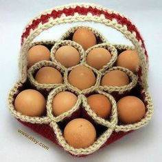 Crochet Pattern for Baker's Dozen Egg Basket Egg by KnotJustAnyBag Crochet Kitchen, Crochet Home, Crochet Crafts, Crochet Projects, Free Crochet, Crochet Chicken, Gifts For A Baker, Confection Au Crochet, Egg Basket