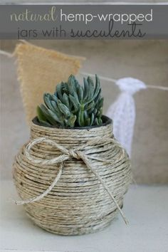 How cute would these diy Hemp-Wrapped Jar with Succulents be as wedding centerpieces or favors? They would even make a great gift for a friend who enjoys flowers! Love this idea.
