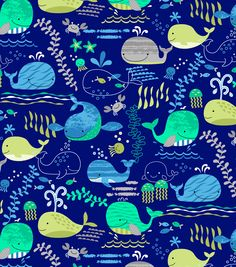 Novelty Cotton Fabric-Whales Fun Navy