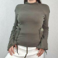 Calvin Klein Size L 10 12 Green Jumper Boat Neck High Khaki Military Sweater #CalvinKlein #Pullover #Casual
