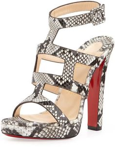 Christian Louboutin Cardamona Python Anklewrap Red Sole Sandal in Gray