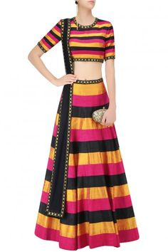 Multicolor Raw Silk Striped Lehenga Set #Lehenga #Multicolor #Striped #Navratri…