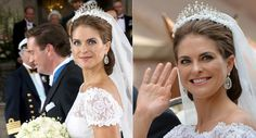 Crowned Princess Madeleine of Sweden The discreet and elegant hairstyle shaped on a low bun was complemented with the 6 meters long veil mantilla, with appearance of headdress, made of tulle with laces point d'espirit and chantilly ivory shaped as flowers on the edges, under the beautiful royal tiara adorned with fresh orange blossoms. Swedish Royal Wedding