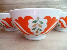 3 tea bowls Vintage set three faience by TheOldHouseFinds on Etsy