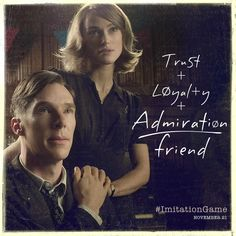 Seriously, this has been my personal friendship formula in a way. Benedict Cumberbatch and Keira Knightley in the Imitation Game Keira Knightley, Keira Christina Knightley, Game Quotes, Movie Quotes, Benedict Cumberbatch, Immitation Game, The Imitation Game 2014, Snapchat Question Game, Gender Reveal Party Games