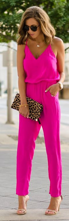Latest fashion trends: Summer look | Fuschia jumpsuit with animal prints clutch