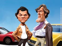 "Caricatures of Tony Curtis and Roger Moore as the ""Persuaders"" (Amicalement Votre, en Français)"