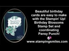 http://www.stampingsmiles.com - Give wishes for a beautiful birthday with a beautiful handmade birthday card made with the Stampin' Up! Birthday Blossoms Sta...