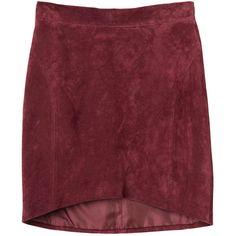 Monki Caroline skirt (€33) ❤ liked on Polyvore featuring skirts, bottoms, faldas, gonne, cult wine, red leather skirt, leather skirt, red skirt, red knee length skirt and monki