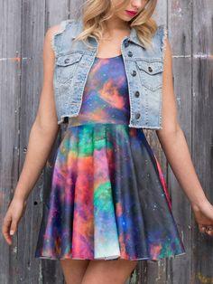 S Galaxy Rainbow Scoop Skater Dress - 48HR (WW ONLY $85AUD) by Black Milk Clothing