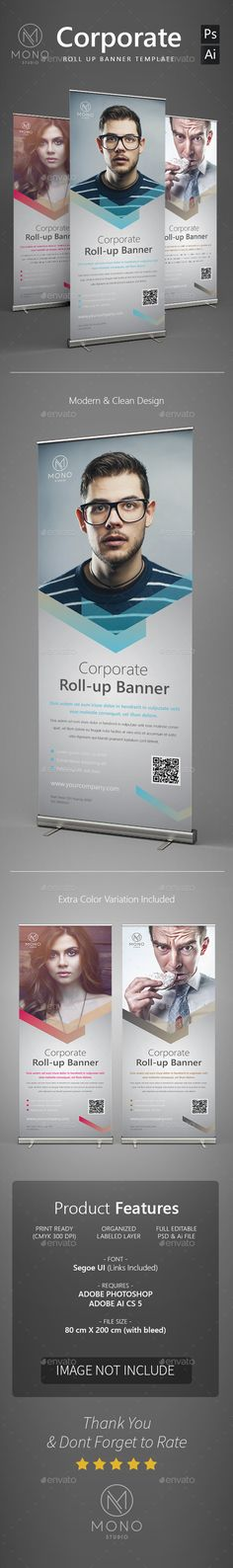 Corporate Roll Up Banner 2 — Photoshop PSD #clean #creative • Available here → https://graphicriver.net/item/corporate-roll-up-banner-2/14333777?ref=pxcr