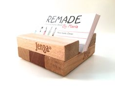 Upcycled Jenga® Business Card Holder, Board Game Crafts, Home Office, Office Decor, Home Decor, Office Supplies, Desk Storage, Teacher Gifts by RemadeByMaria on Etsy