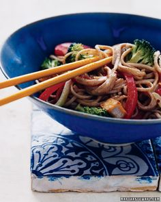 We used healthful almond butter instead of peanut for a twist in this Soba, Tofu, and Vegetable Stir-Fry, Wholeliving.com #healthylunches #tofu
