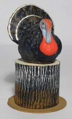 #5 Vtg Western Germany Papier Mache Thanksgiving Turkey on Stump Candy Container