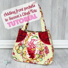 Add Front Pockets to Swoon Patterns Ethel Tote - A really cool tutorial to enhance a FREE pattern!