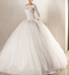New long-sleeved wedding dresses prom ball gown bridal dress luxury Ball Gown / Duchesscustom size