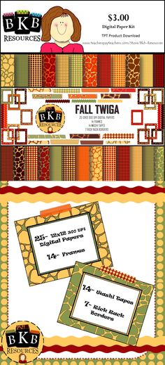 Digital Paper and Clipart Kit. Great for TPT Products, scrapbooking, crafts and more. Visit https://www.teacherspayteachers.com/Product/Fall-Twiga-Digital-Papers-and-Clipart-2090885