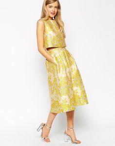 Imagen 4 de Top amarillo de conjunto de jacquard con estampado floral de ASOS