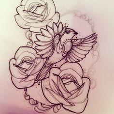#bird #robin #roses