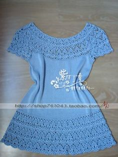 Take a boring straptop, add crochet edge top and bottom, add extra edge on top for sleeves and voila a pretty blouse!