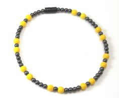 Women's Magnetic Magnetite Jewelry Anklet Yellow Czech Glass Brazilian Magnetite Loadstone blood pressure fasciitis gout foot leg knee pain | Magnetite Jewelry