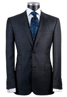 Super 130's Charcoal POW overcheck slim silhouette suit