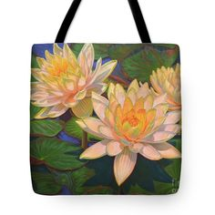 """Water Lilies 5 Tote Bag 18"""" x 18"""" and other sizes, from an oil painting by Fiona Craig www.fionacraig.com . Wall prints, duvets and throw pillows also available (the FAA watermark is NOT on the actual products)."""