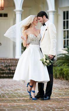 martina liana tea length bridal dress