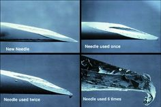 Así se ve al microscopio una aguja cuando se reutiliza