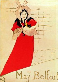 Jardin de Paris, May Belfort, Plakat - Henri de Toulouse-Lautrec. A wider image is available here: http://www.pinterest.com/pin/93801604711185527/