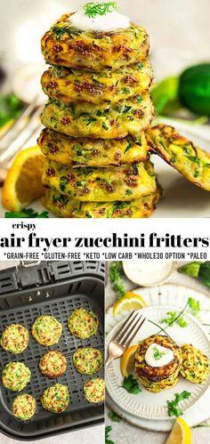Air Fryer Recipes Zucchini, Air Fryer Recipes Low Carb, Zuchinni Recipes, Air Fryer Dinner Recipes, Paleo Zucchini Fritters, Air Fryer Recipes Snacks, Keto Snacks, Vegetarian Recipes, Cooking Recipes