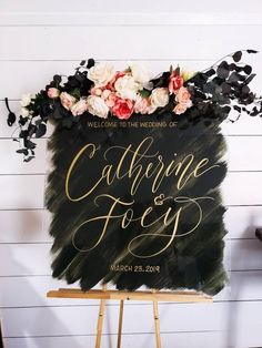100 Boho Wedding Decor Finds You'll Love! Black and gold painted perspex wedding welcome sign with floral decor - Boho Wedding Lilac Wedding, Fall Wedding, Our Wedding, Wedding Flowers, Wedding Ceremony, Wedding Stuff, Boho Wedding Decorations, Wedding Themes, Wedding Colors