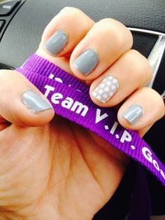 My latest Jamicure.  Jamberry Nails lacquer in Ash paired with a Gray and White Polka wrap as an accent nail.  http://teeters.jamberrynails.net/ and get yours