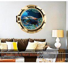 GBP - Colorful Vivid Window Wall Sticker Submarine Sea Turtle Art Decals Decor & Garden Wall Stickers Home Decor, Wall Stickers Murals, Sea Turtle Art, Bathroom Decals, 3d Printing Materials, 3d Printer Parts, Removable Wall Stickers, 3d Wall, Wall Art
