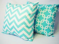Teal Decorative Throw Pillow Covers in Teal Blue and White - Chevron Pillow 20 x 20 inches Cushion Cover Accent Pillow. $32.00, via Etsy.