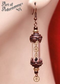 The perfect amount of detail! Patina Steampunk Time Capsule Earrings by ~ArtOfAdornment on deviantART