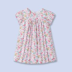 Liberty print pleated dress  for baby, girl