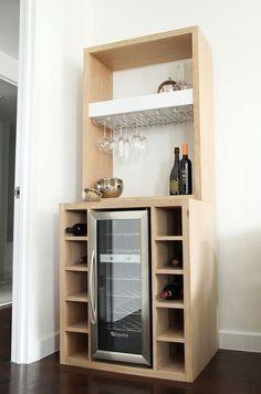 DIY Wine Bar with fridge. - except do with black walnut.